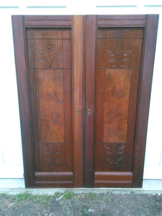 Pair of Vintage Victorial Walnut Armoire Doors #114 - $197.50