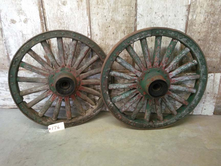 176 Vintage Antique Heavy Duty Wagon Wheels - $370 pair
