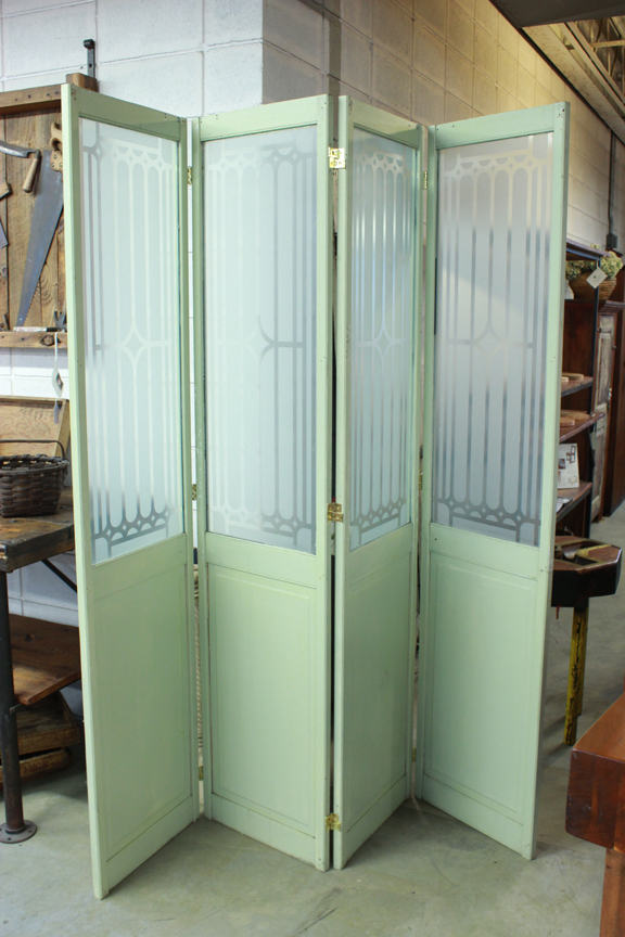 ACC-2163A Restored Antique Green 4-Panel Door / Screen with Glass Room Divider