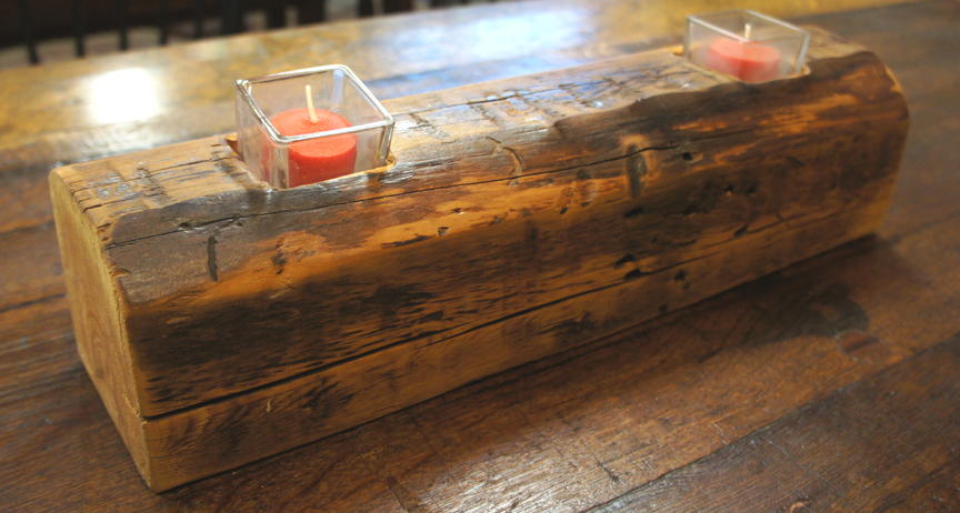 CA-001 Antique Pine Beam 2 Tea Light ~ $55
