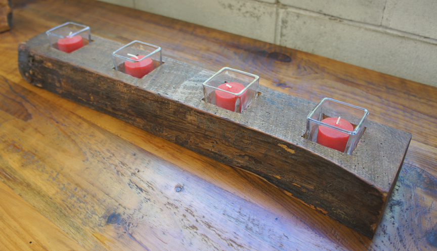 CA-004 Antique Reclaimed Pine Beam 4 Tea Light ~ $75