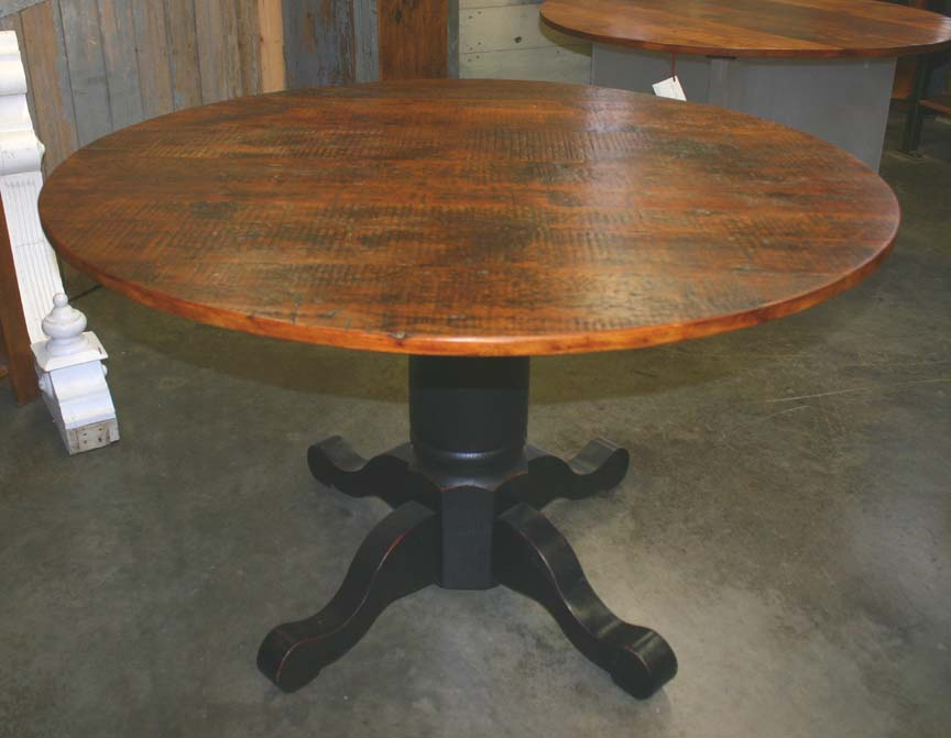 RT-20 Rustic Reclaimed Pine Top Pedestal Table