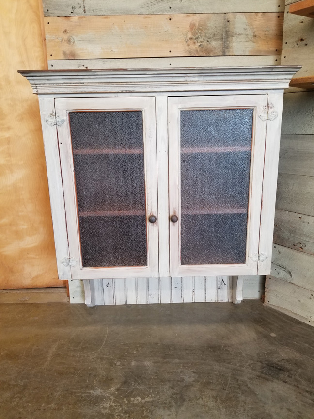 #CB-17 Bead Board Wall Cabinet w/2 Antique Bubble Glass Front Doors ~ $895