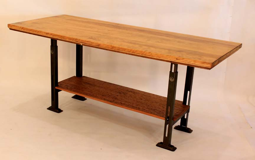 IS-42 Antique Reclaimed Birch Top & Metal Base Table ~ $1295