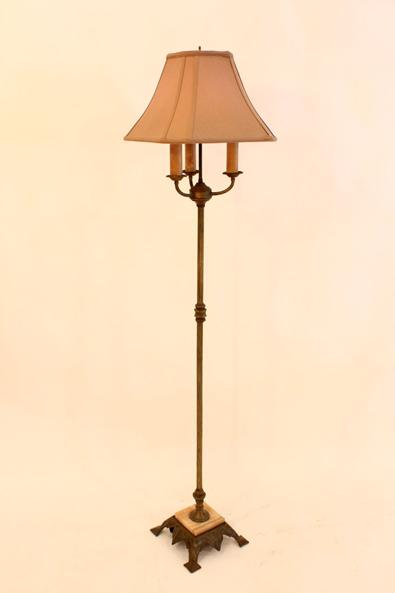 LT-24 Antique Brass & Marble Floor Lamp ~ $125