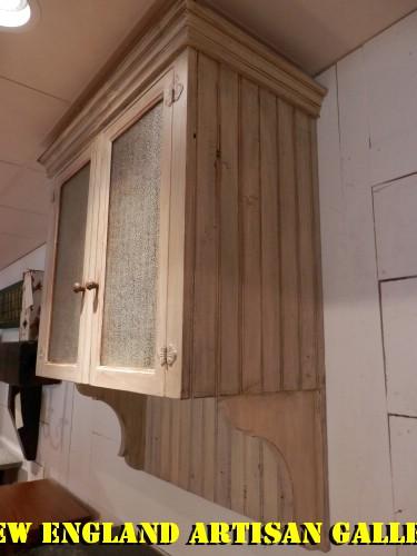 Ordinaire #CB 17 Beadboard Wall Cabinet W/2 Bubbleglass Front Doors
