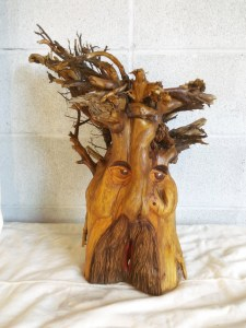 Tree Spirit painted eyes mouth - downsized