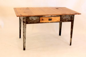 #DK-04 Desk with Metal Legged Factory Table Base with one drawer